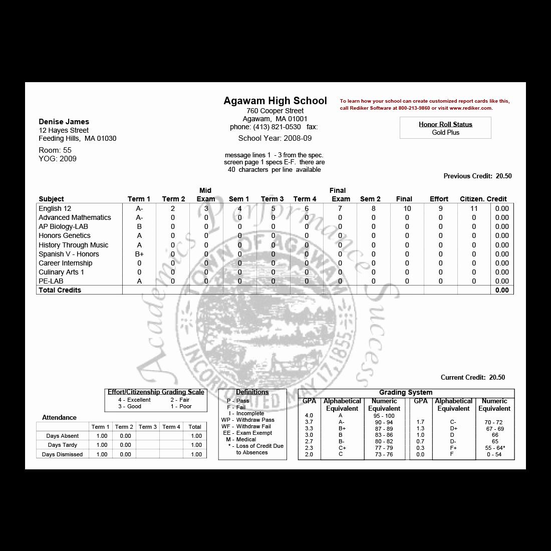 Fake Report Card Template Unique Report Card software Grade Management