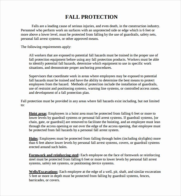 Fall Protection Plan Template Beautiful Sample Fall Protection Plan Template 9 Free Documents
