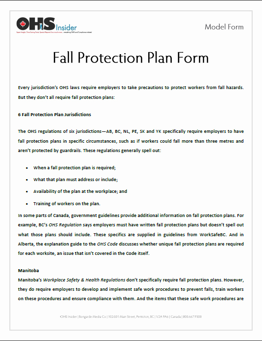 Fall Protection Plan Template Unique 12 Of Site Specific Fall Protection Template
