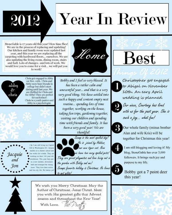 Family Christmas Letter Template Best Of A Year In Review Christmas Letter and Template Stonegable