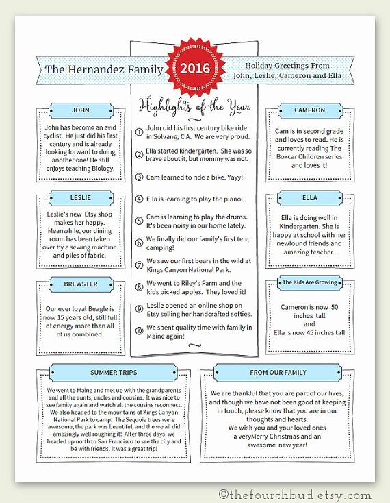 Family Christmas Letter Template Elegant Year In Review Christmas Letter Template In Pdf for