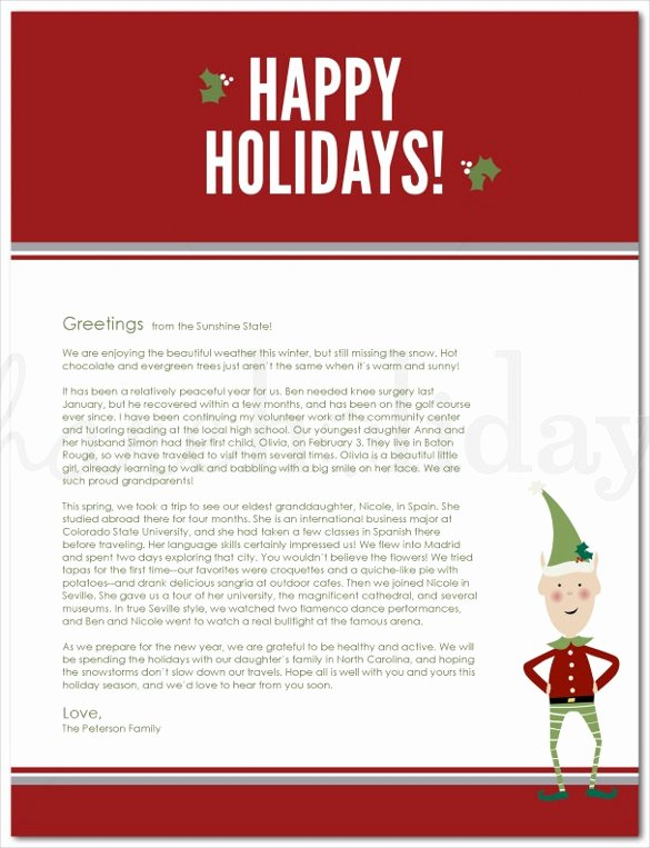 Family Christmas Letter Template Fresh 23 Holiday Letter Templates – Free Sample Example format