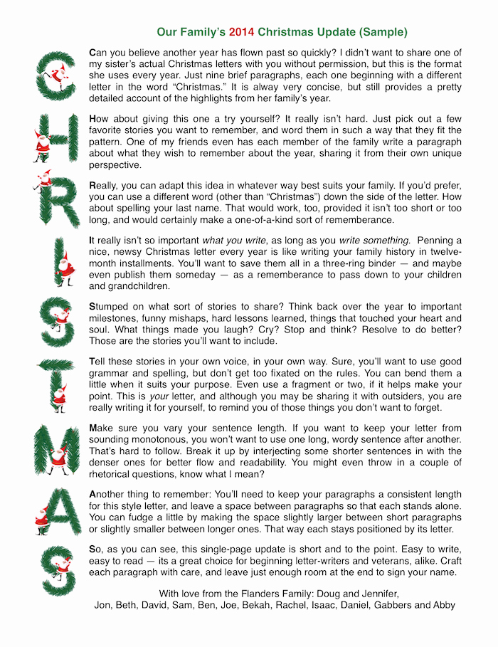 Family Christmas Letter Template Fresh Sample Acrostic Christmas Letter with Free Printable