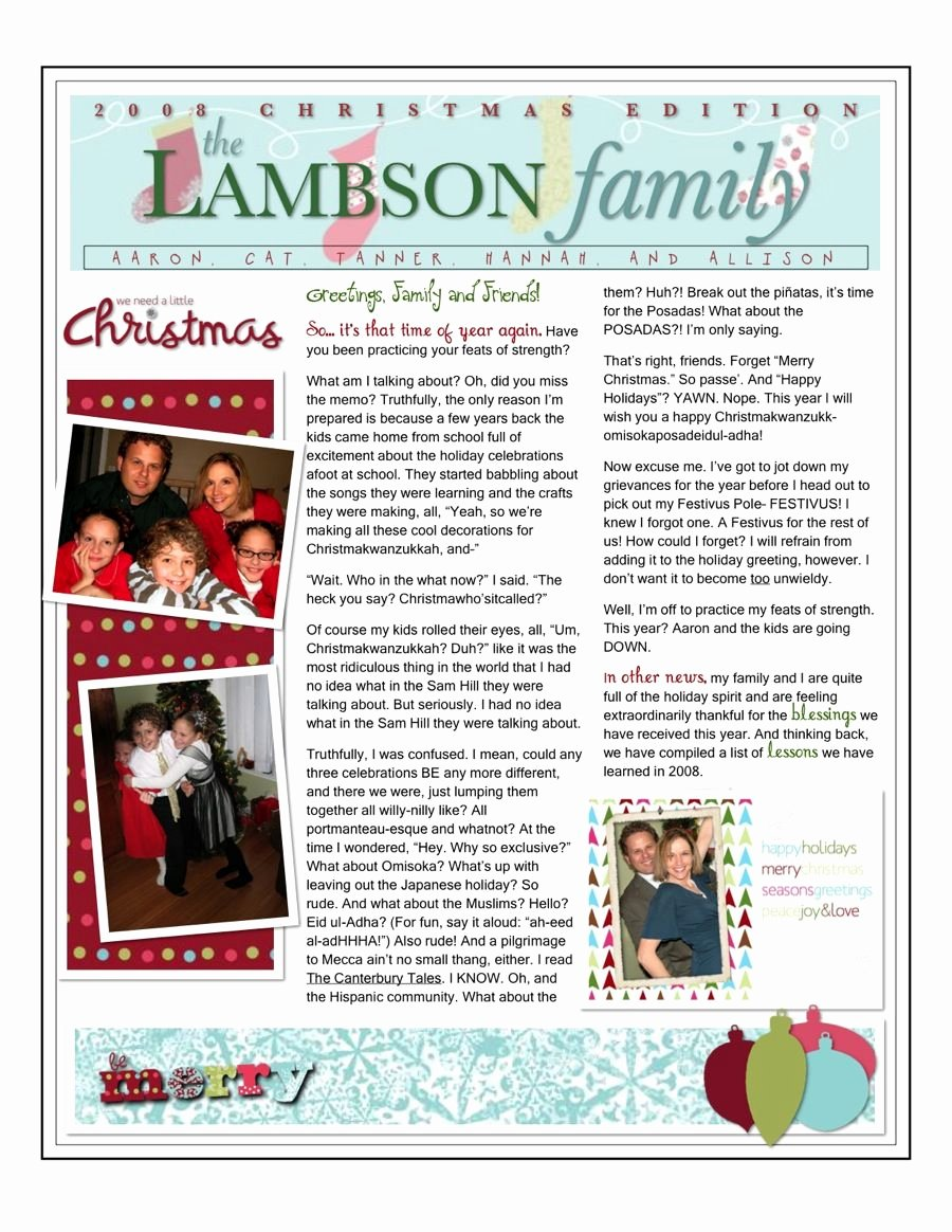 Family Christmas Letter Template Luxury Christmas Family Newsletter