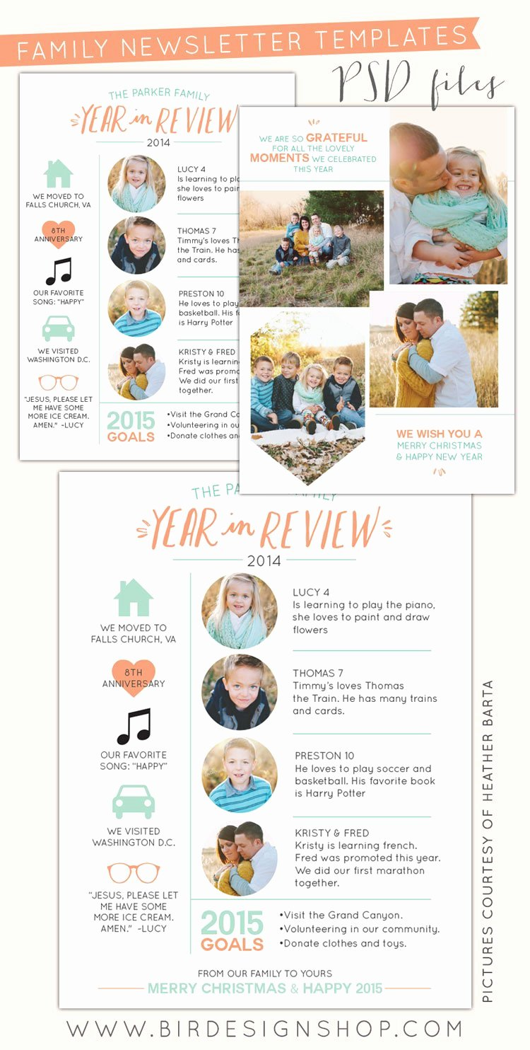 Family Christmas Letter Template Unique Free Photoshop Year In Review Newsletters