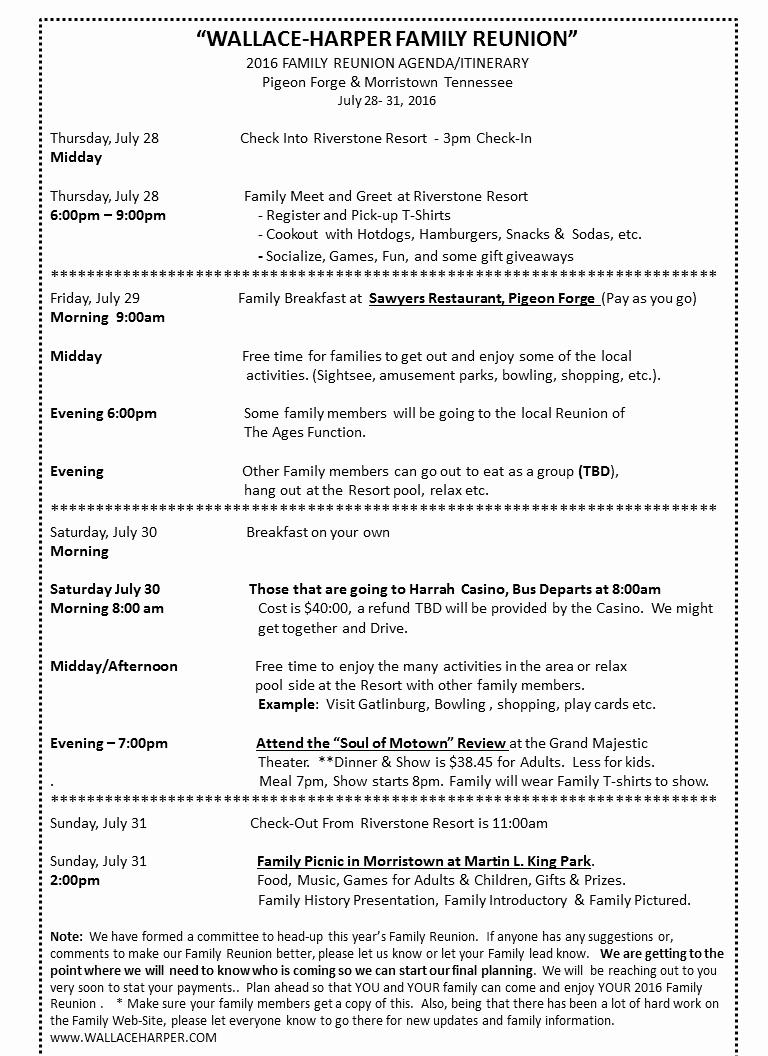 Family Meeting Agenda Templates Best Of 2016 Family Reunion Agenda Itinerary