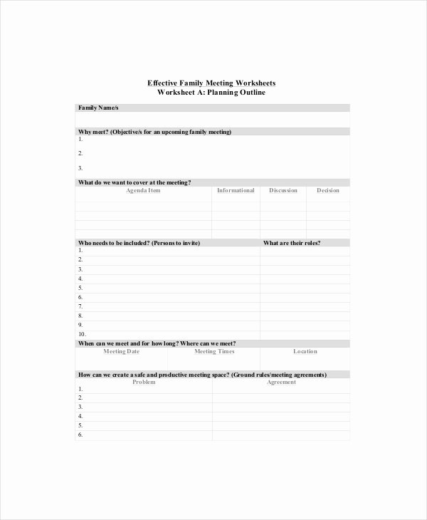 Family Meeting Agenda Templates Best Of 8 Family Meeting Agenda Templates – Free Sample Example