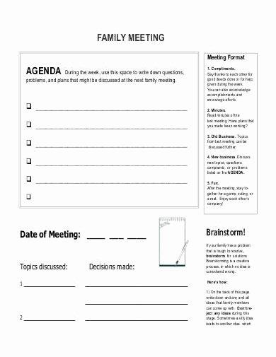 Family Meeting Agenda Templates Elegant 10 Best Family Meeting Agenda Examples & Templates