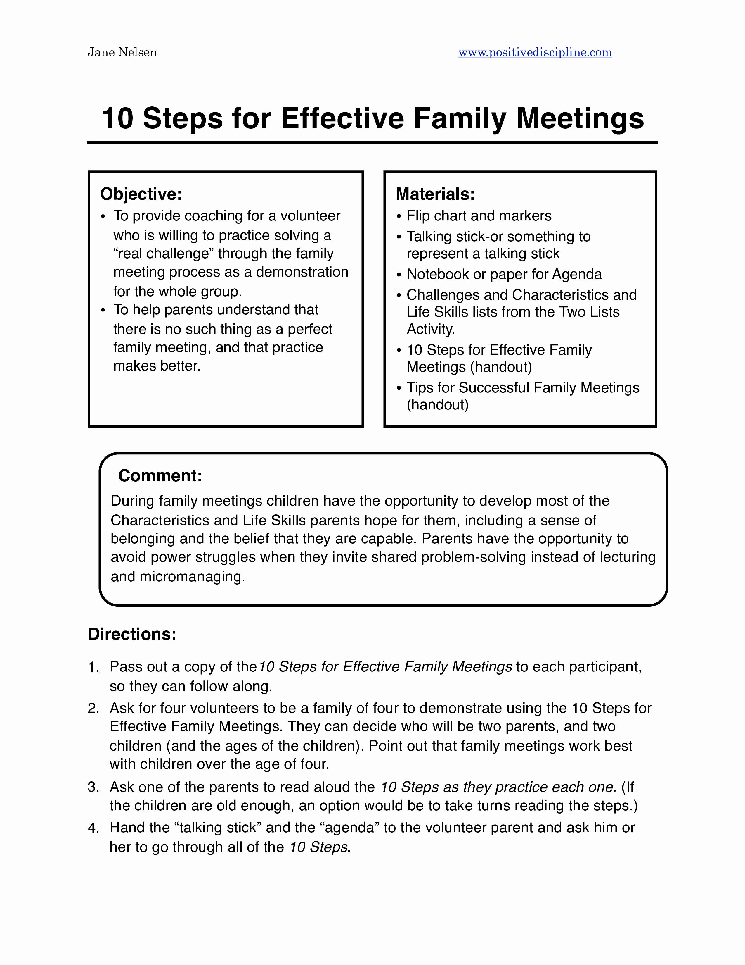 Family Meeting Agenda Templates Elegant Family Agenda Sample