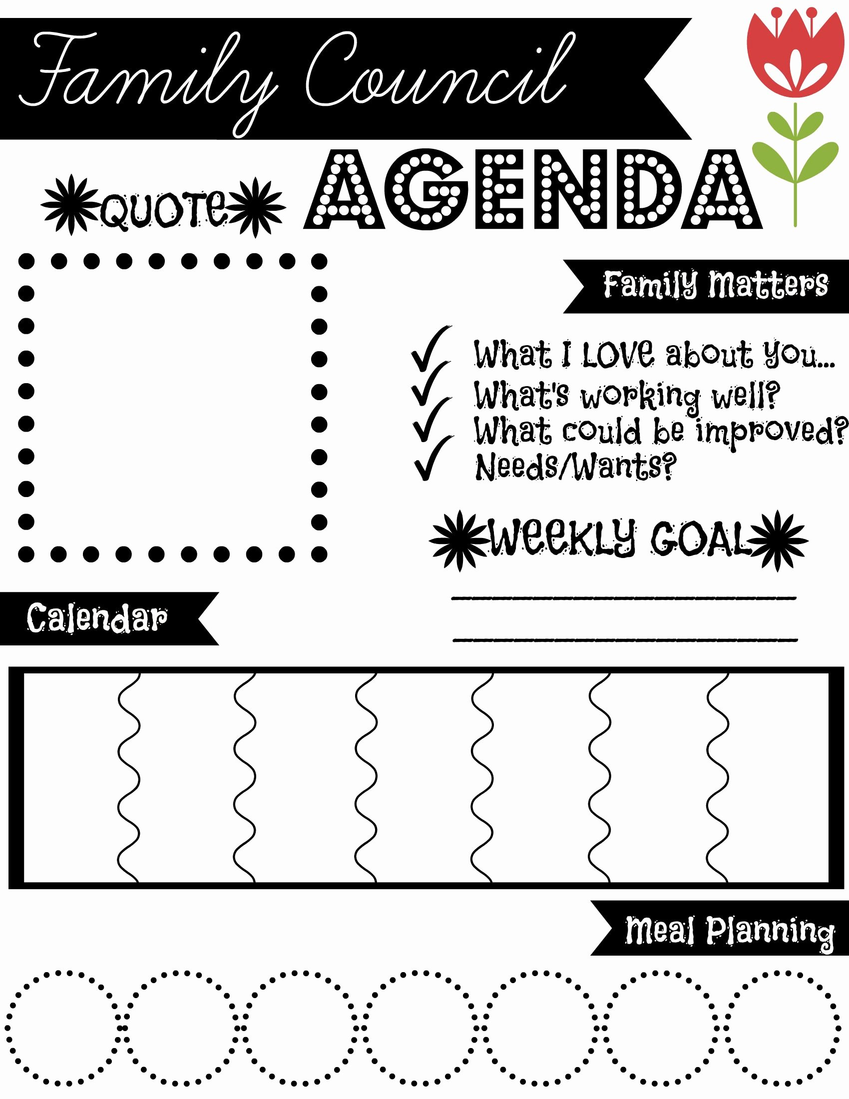 Family Meeting Agenda Templates Fresh Family Council Agenda Find More Free Printables at