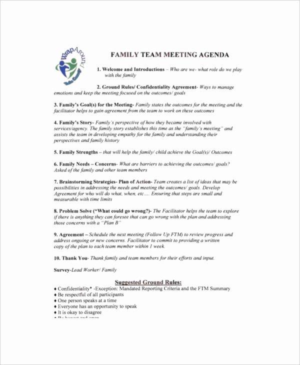 Family Meeting Agenda Templates Inspirational 8 Family Meeting Agenda Templates – Free Sample Example