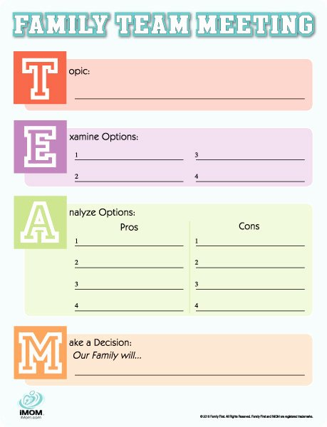 Family Meeting Agenda Templates Lovely Family Meeting tool Imom