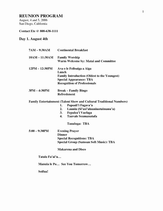 Family Reunion Agenda Template Awesome Family Reunion Planners