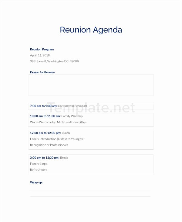Family Reunion Agenda Template Inspirational 49 Agenda Templates and Examples