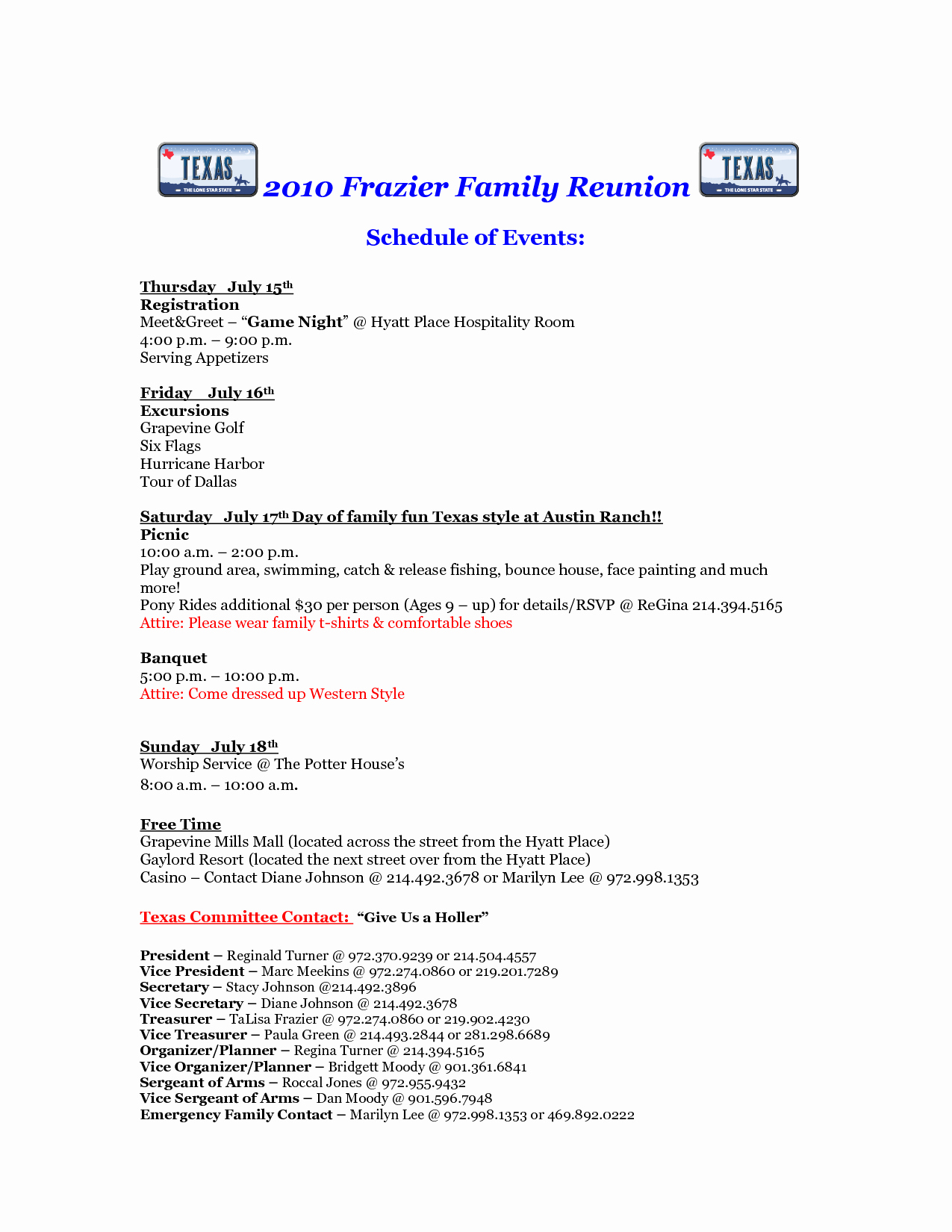Family Reunion Agenda Template Lovely Free Printable Family Reunion Letters