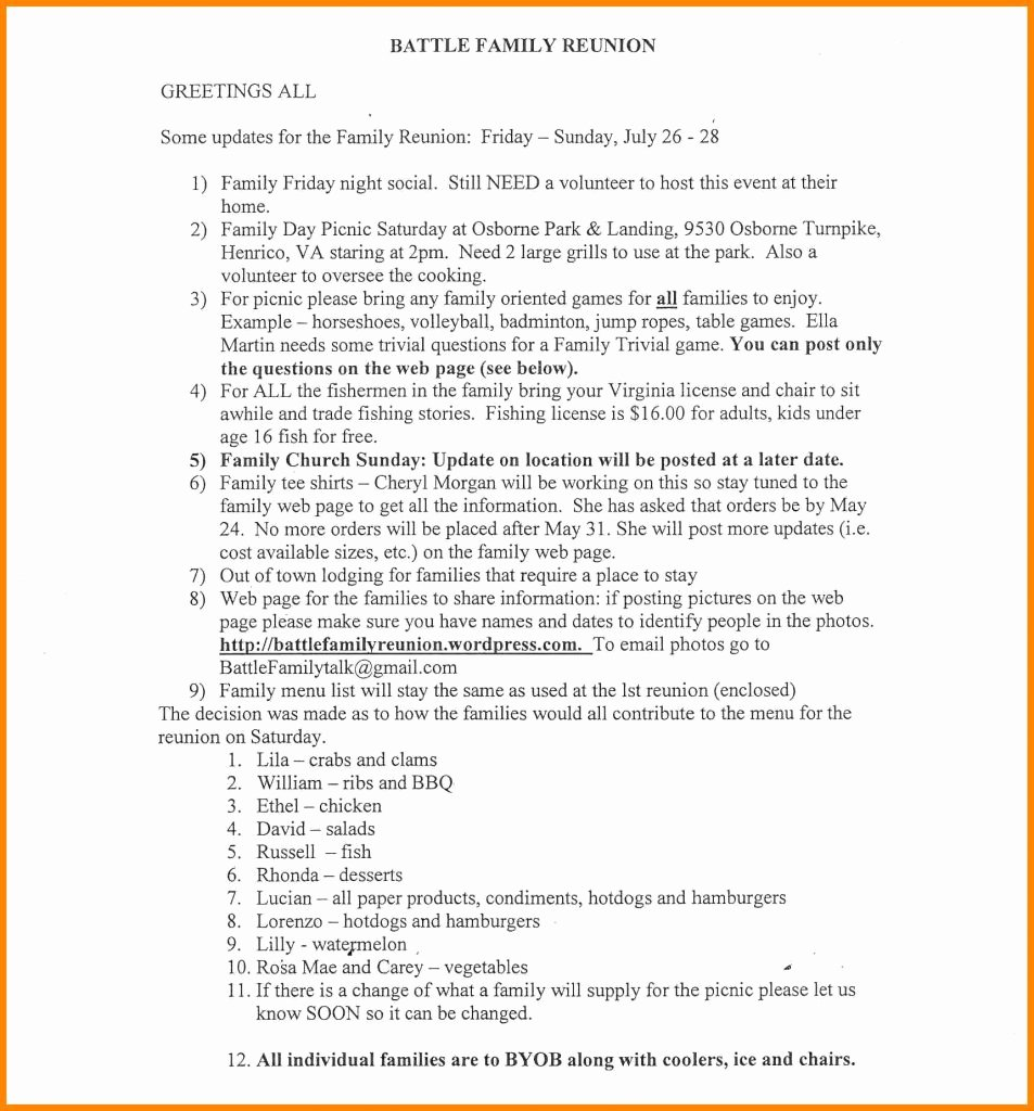 Family Reunion Agenda Template New Family Reunion Agendaemplate Invitationemplates
