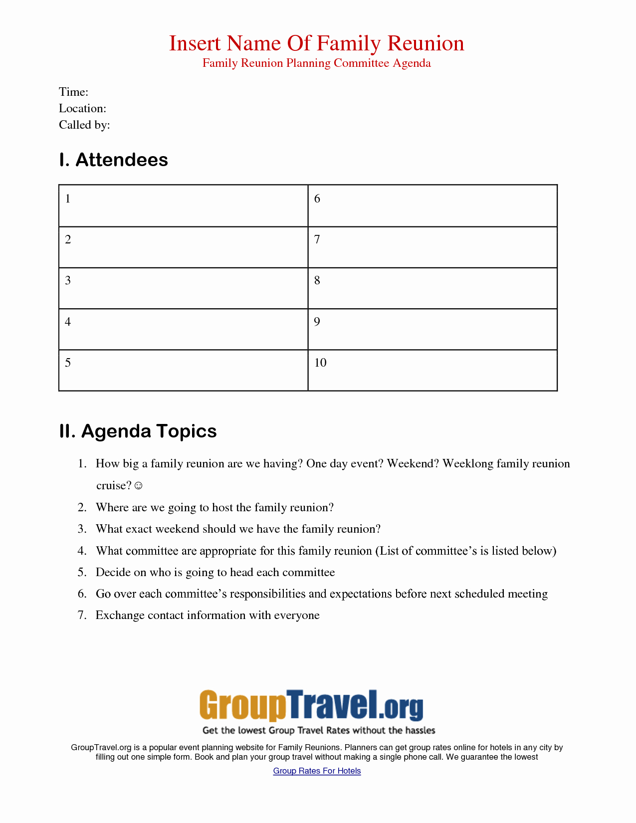 Family Reunion Agenda Template Unique Best S Of Family Meeting Agenda Template Printable