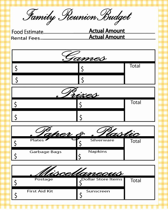 Family Reunion Agenda Template Unique Free Printable Family Reunion Bud Planner