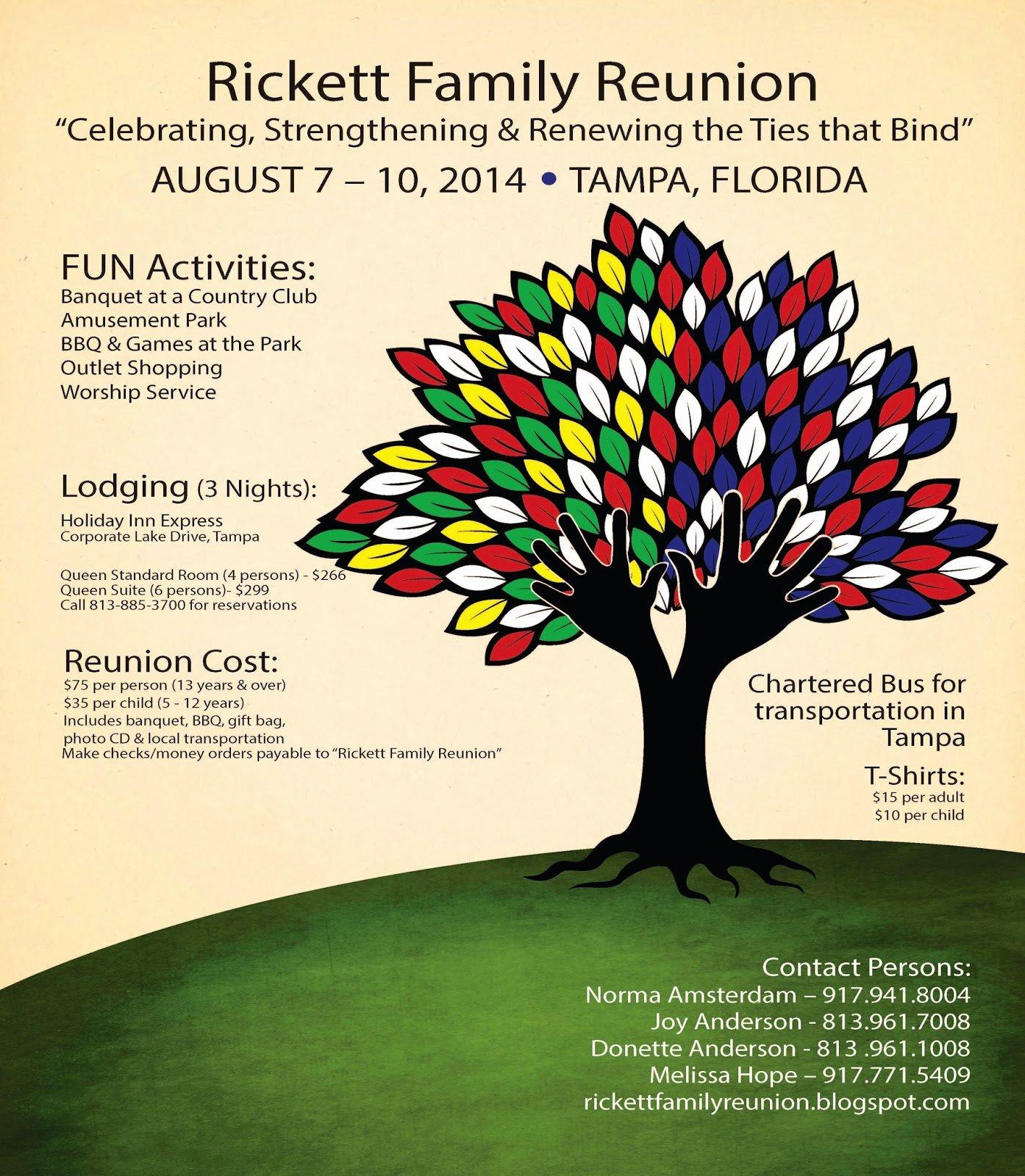 Family Reunion Flyer Template Elegant Rickett Family Reunion Blog