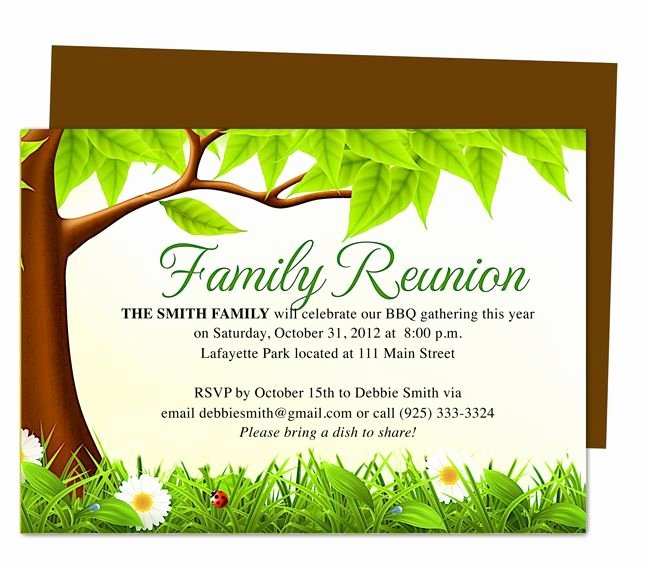 Family Reunion Flyer Template Fresh Family Tree Reunion Party Invitations Templates