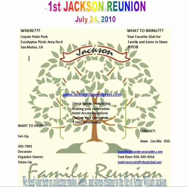 Family Reunion Flyer Template Inspirational the Jackson Family S 2010 Reunion Webpage