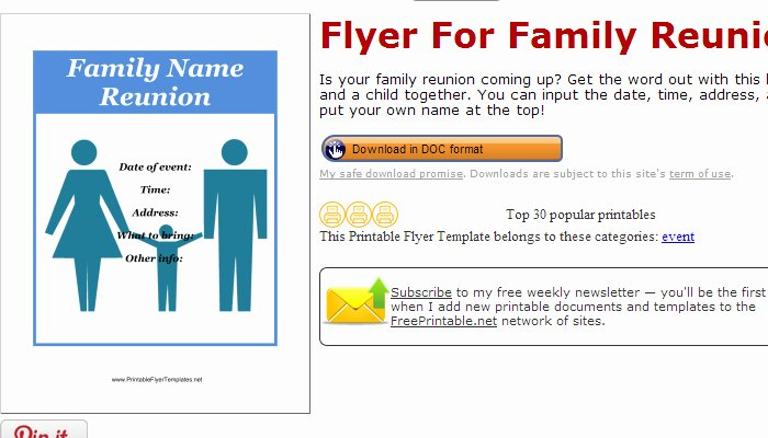 Family Reunion Flyer Template Luxury June 2014