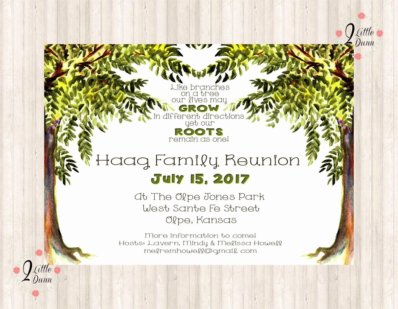 Family Reunion Flyer Templates Beautiful Family Reunion Invite Trees Printable Digital Invitation