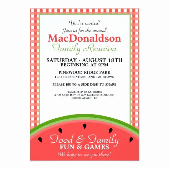 Family Reunion Flyer Templates Best Of Watermelon Picnic Family Reunion Invitations