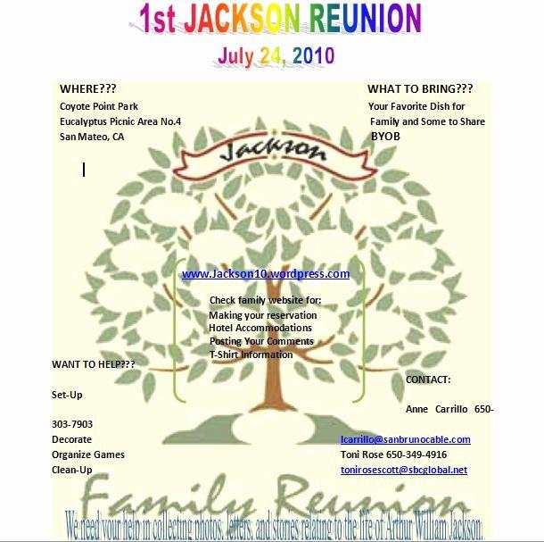 Family Reunion Flyer Templates New the Jackson Family S 2010 Reunion Webpage