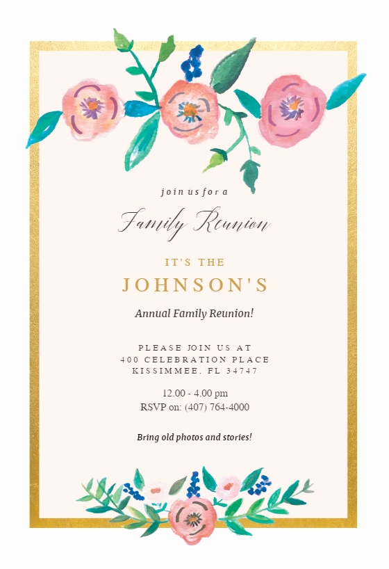 Family Reunion Invitation Templates Free Elegant Flower On Gold Family Reunion Invitation Template Free