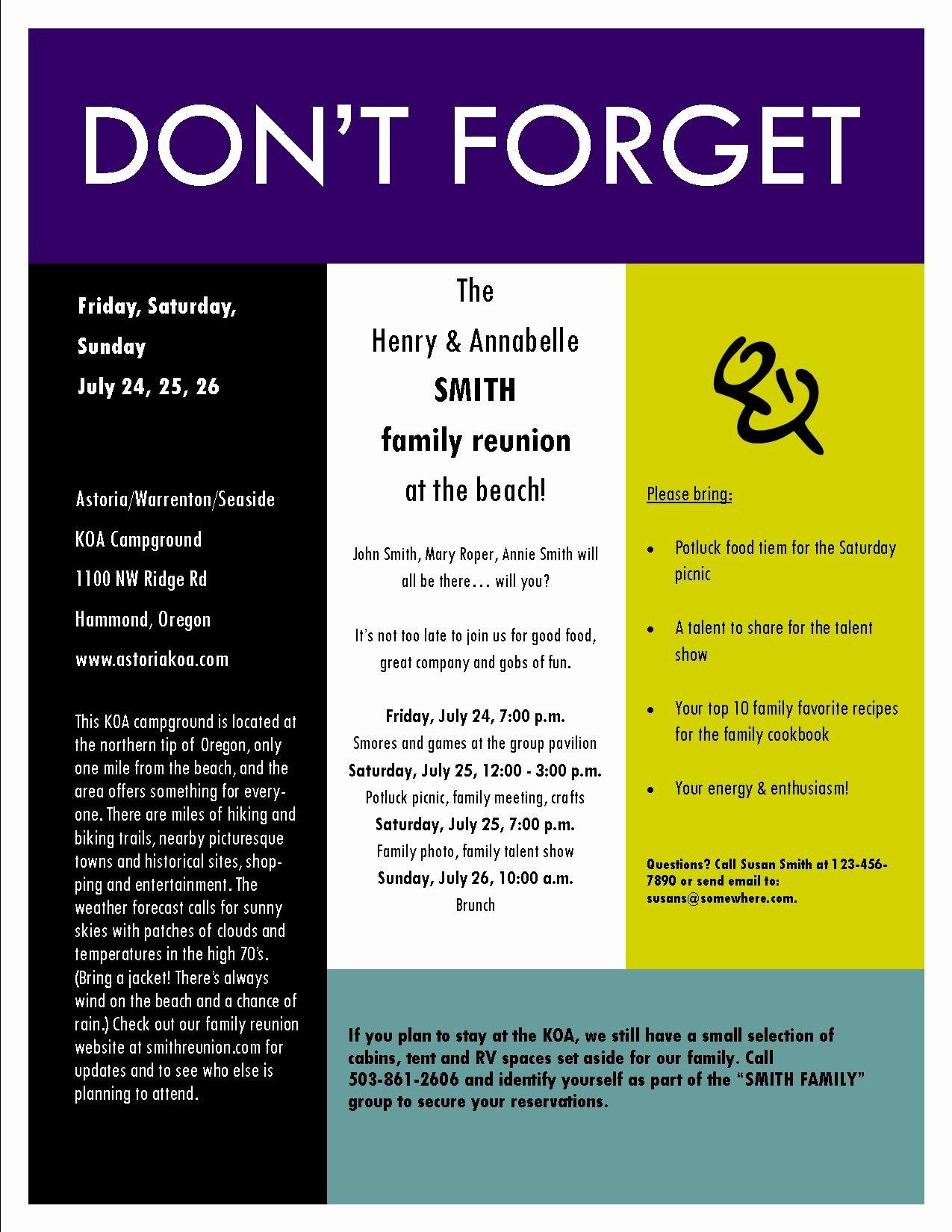 Family Reunion Invitation Templates Free New Invitation Reminder Message Sample