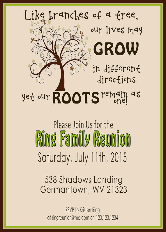 Family Reunion Invitations Templates Awesome Family Reunion Invite Swirly Tree Printable Digital