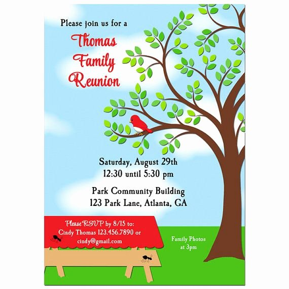 Family Reunion Invitations Templates Lovely Family Reunion Picnic Bbq Park Invitation Printable or