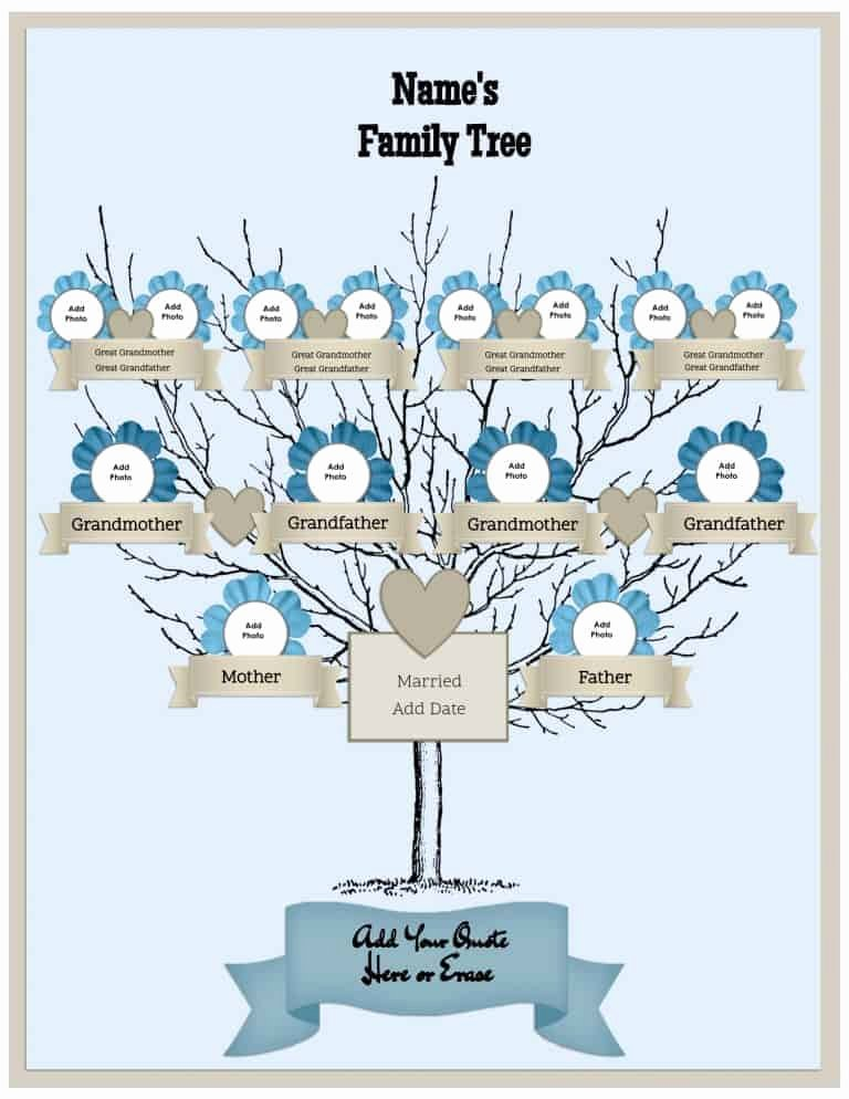 Family Tree Template with Photos Beautiful Free Family Tree Template