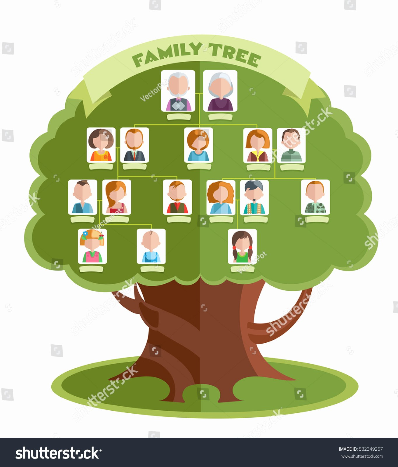 Family Tree Template with Photos Luxury Family Tree Template Portraits Relatives Place Stock