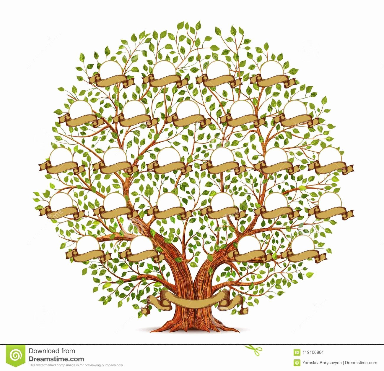 Family Tree Template with Photos New Family Tree Template Vintage Vector Illustration Stock