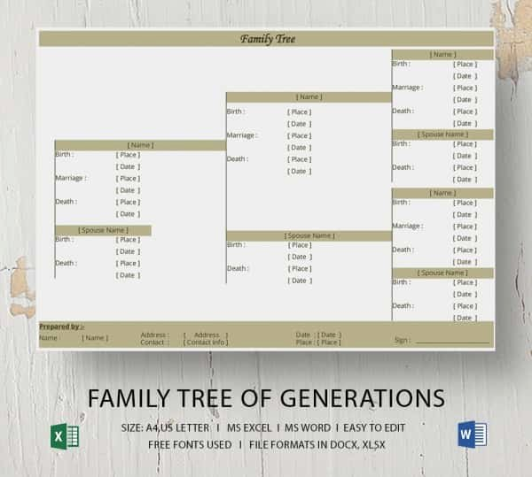 Family Tree Templates Excel Inspirational Simple Family Tree Template 25 Free Word Excel Pdf