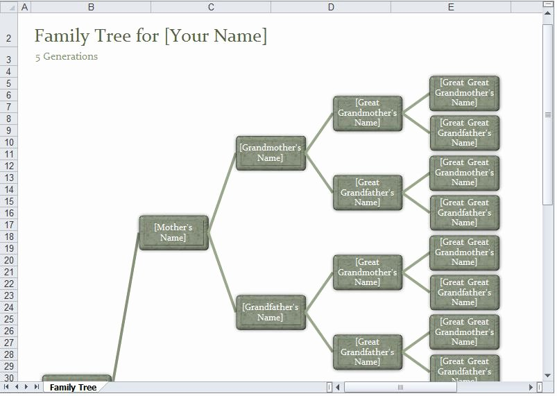 Family Tree Templates Excel Lovely Family Tree Template Excel