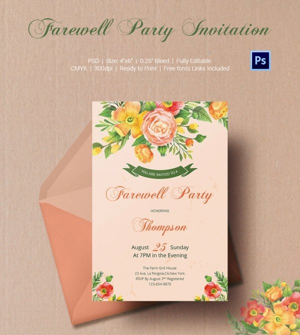 Farewell Party Invitations Templates Beautiful Farewell Party Invitation Template 25 Free Psd format