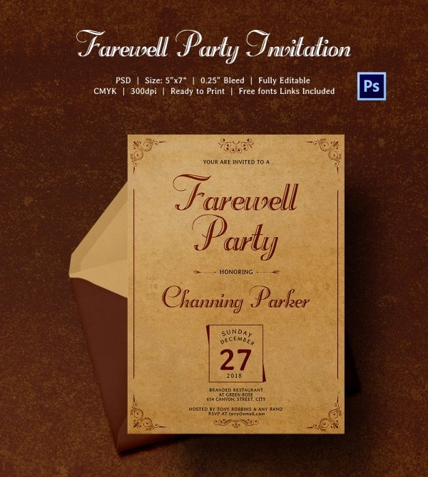 Farewell Party Invitations Templates Inspirational Farewell Party Invitation Template 25 Free Psd format