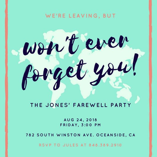Farewell Party Invitations Templates Inspirational Green Tinted Map Farewell Party Invitation Templates by