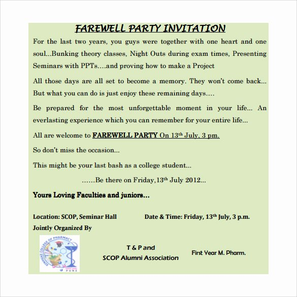 Farewell Party Invitations Templates Lovely Sample Farewell Invitation Template 8 Download