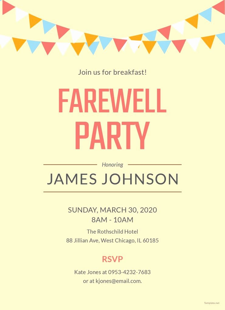 Farewell Party Invitations Templates Luxury Free Farewell Breakfast Party Invitation