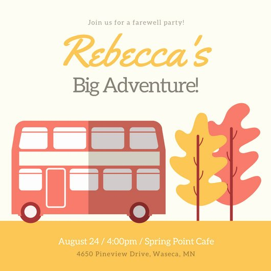 Farewell Party Invitations Templates New Coral and Yellow Bus and Tree Farewell Party Invitation