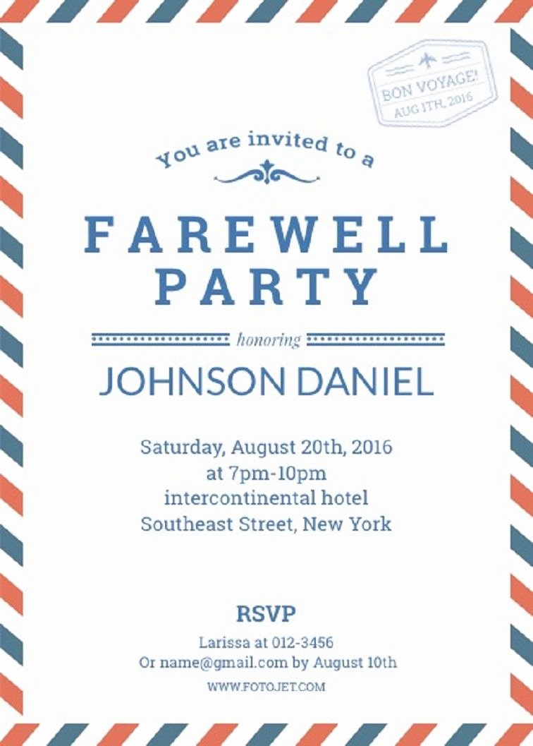 Farewell Party Invitations Templates Unique Farewell Party Invitation Template