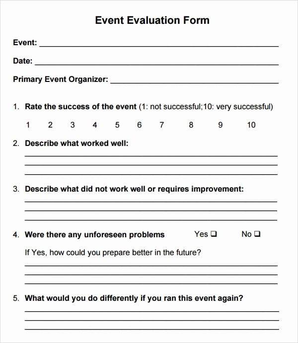 Feedback form Template Word Lovely event Evaluation form 7 Free Download for Word Pdf