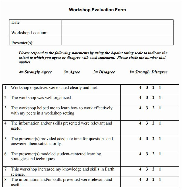 Feedback form Template Word Unique Free 10 Sample Workshop Evaluation forms In Pdf