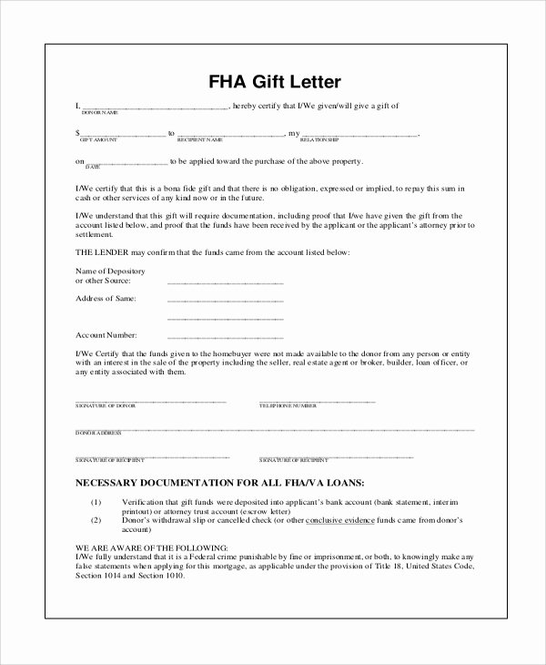 Fha Gift Letter Template Best Of 13 Sample Gift Letters Pdf Word