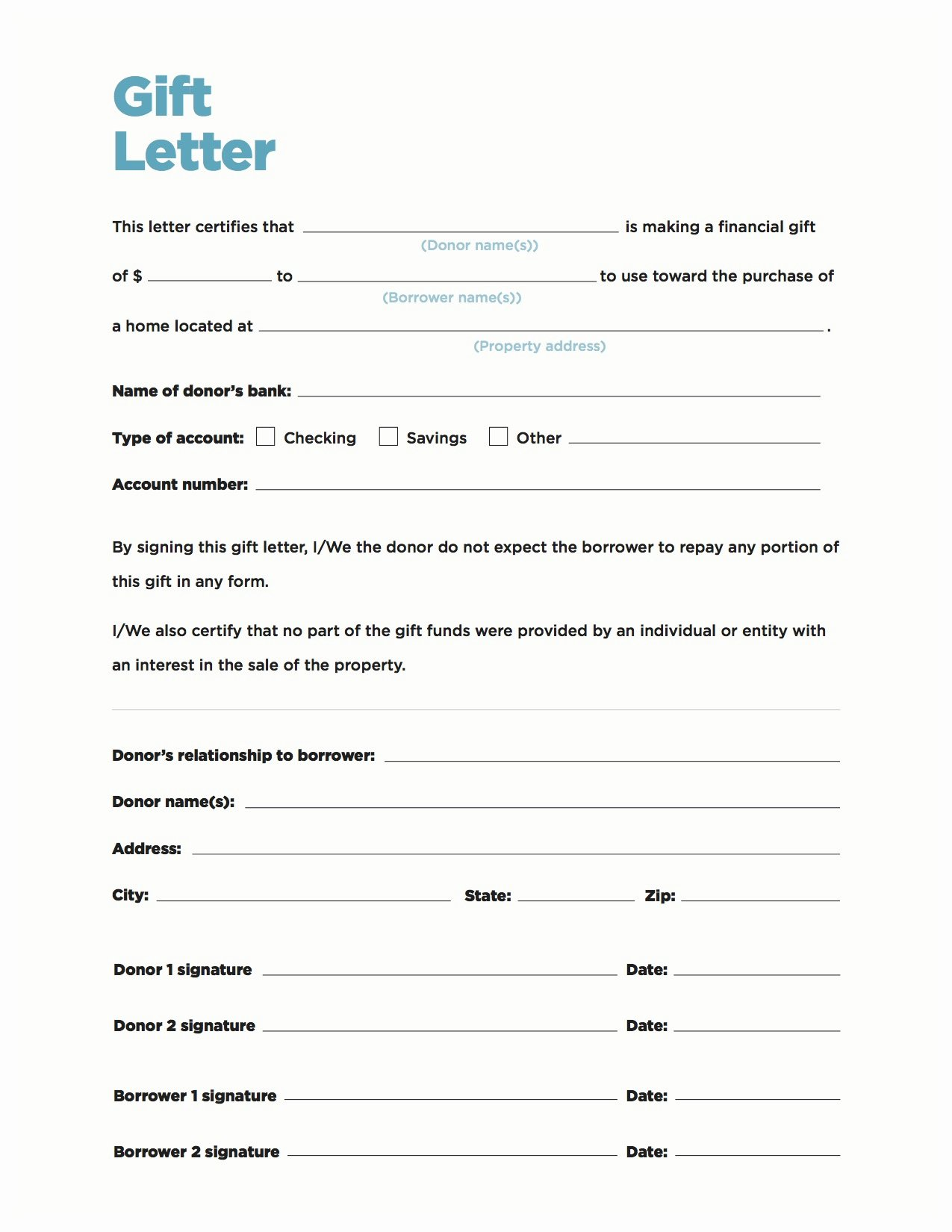 Fha Gift Letter Template Elegant Gift Money Can Meet Your Down Payment Needs Nerdwallet