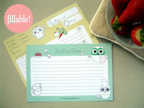 Fillable Recipe Card Template Awesome Printable and Fillable Owl Recipe Card